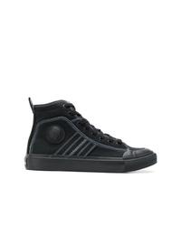 schwarze hohe Sneakers aus Segeltuch von Diesel