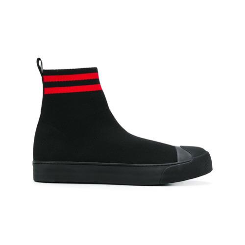 schwarze hohe Sneakers aus Segeltuch von Neil Barrett