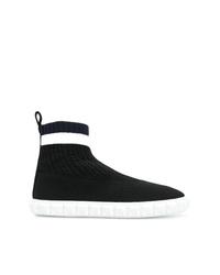 schwarze hohe Sneakers aus Segeltuch von Stuart Weitzman