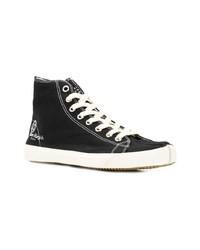 schwarze hohe Sneakers aus Segeltuch von Maison Margiela