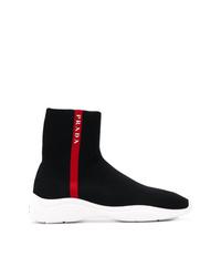 schwarze hohe Sneakers von Prada