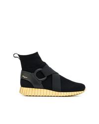 schwarze hohe Sneakers von Salvatore Ferragamo
