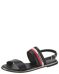 schwarze horizontal gestreifte flache Sandalen aus Leder von Tommy Hilfiger