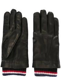 schwarze horizontal gestreifte Handschuhe von Thom Browne