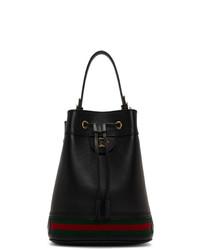 schwarze horizontal gestreifte Leder Beuteltasche von Gucci