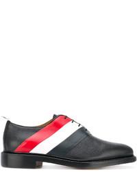 schwarze horizontal gestreifte Leder Derby Schuhe von Thom Browne