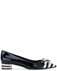 schwarze horizontal gestreifte Leder Pumps von Salvatore Ferragamo