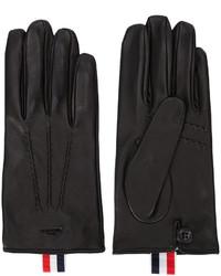 schwarze horizontal gestreifte Lederhandschuhe von Thom Browne