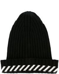 schwarze horizontal gestreifte Mütze von Off-White