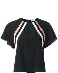 schwarze horizontal gestreifte Seide Bluse von RED Valentino