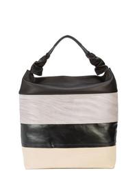 schwarze horizontal gestreifte Shopper Tasche aus Leder von Rick Owens