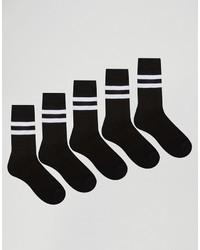 Schwarze horizontal gestreifte Socke von Asos