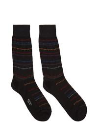 schwarze horizontal gestreifte Socken von Paul Smith