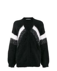 schwarze horizontal gestreifte Strickjacke von Alberta Ferretti