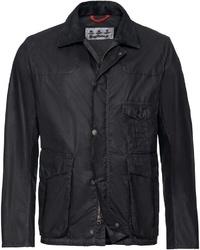 schwarze Jacke mit einer Kentkragen und Knöpfen von Barbour