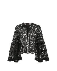 schwarze Jacke mit einer offenen Front von Carolina Herrera