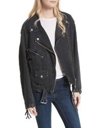schwarze Jeans Bikerjacke