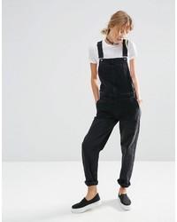 schwarze Jeans Latzhose von Asos
