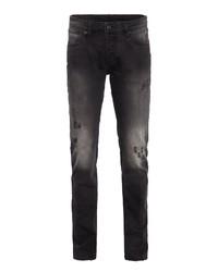 schwarze Jeans mit Destroyed-Effekten von BLUE MONKEY