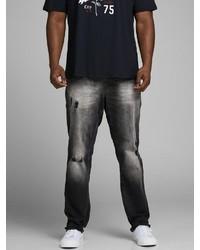 schwarze Jeans mit Destroyed-Effekten von Jack & Jones