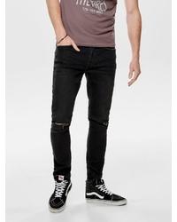 schwarze Jeans mit Destroyed-Effekten von ONLY & SONS