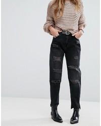 schwarze Jeans mit Destroyed-Effekten von Pull&Bear