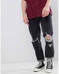 schwarze Jeans mit Destroyed-Effekten von Rollas