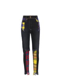 schwarze Jeans mit Schottenmuster von Versace