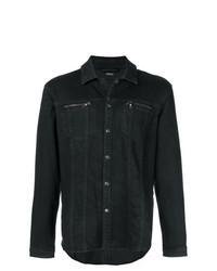 schwarze Jeansshirtjacke