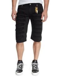 schwarze Jeansshorts mit Destroyed-Effekten