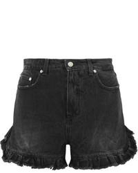 schwarze Jeansshorts mit Destroyed-Effekten von MSGM