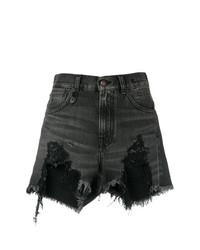 schwarze Jeansshorts mit Destroyed-Effekten von R13