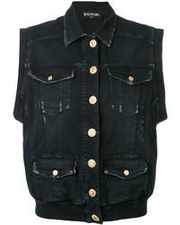 schwarze Jeansweste von Balmain