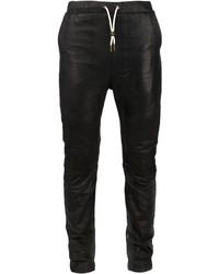 schwarze Jogginghose aus Leder von Zanerobe