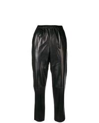 schwarze Karottenhose aus Leder von Drome