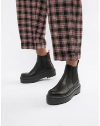 schwarze klobige Chelsea-Stiefel aus Leder von ASOS DESIGN