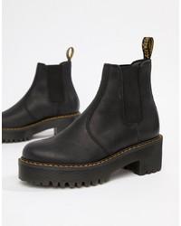 schwarze klobige Chelsea-Stiefel aus Leder von Dr. Martens