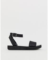 schwarze klobige flache Sandalen aus Leder von ASOS DESIGN