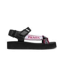 schwarze klobige flache Sandalen aus Segeltuch von Prada