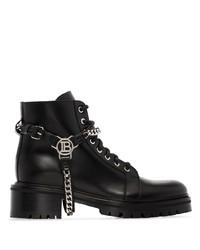 schwarze klobige flache Stiefel mit einer Schnürung aus Leder von Balmain