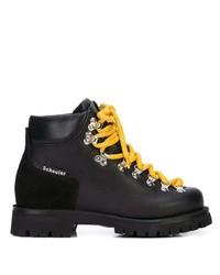 schwarze klobige flache Stiefel mit einer Schnürung aus Leder von Proenza Schouler