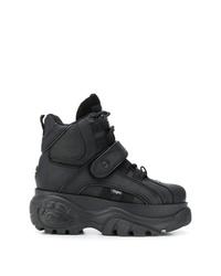 schwarze klobige hohe Sneakers aus Leder von Buffalo