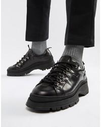 schwarze klobige Leder Derby Schuhe