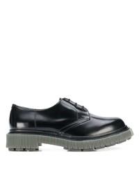 schwarze klobige Leder Derby Schuhe von Adieu Paris