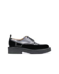 schwarze klobige Leder Derby Schuhe von AMI Alexandre Mattiussi