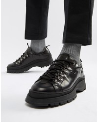 schwarze klobige Leder Derby Schuhe von ASOS DESIGN