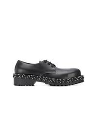schwarze klobige Leder Derby Schuhe von Balenciaga