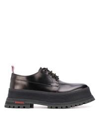 schwarze klobige Leder Derby Schuhe von Burberry