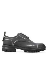 schwarze klobige Leder Derby Schuhe von DSQUARED2
