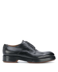 schwarze klobige Leder Derby Schuhe von Ermenegildo Zegna